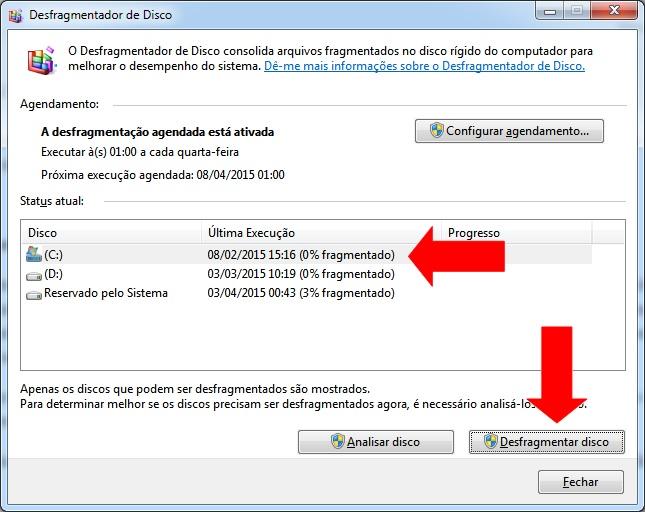 imagem do desfragmentador de disco do windows