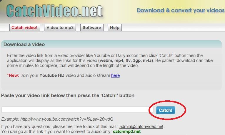imagem site catchvideo para download do youtube