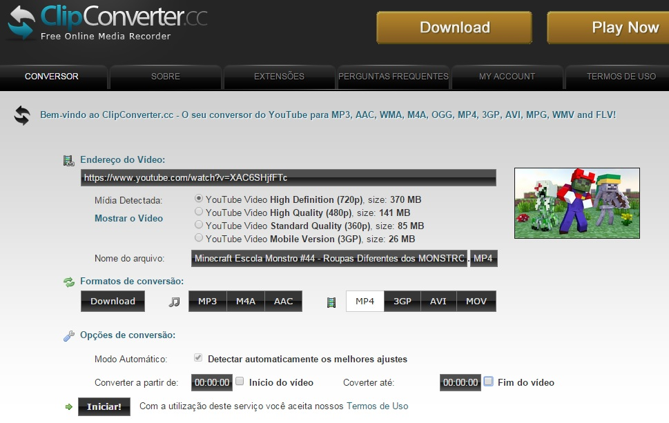 imagem clipconverter para download youtube