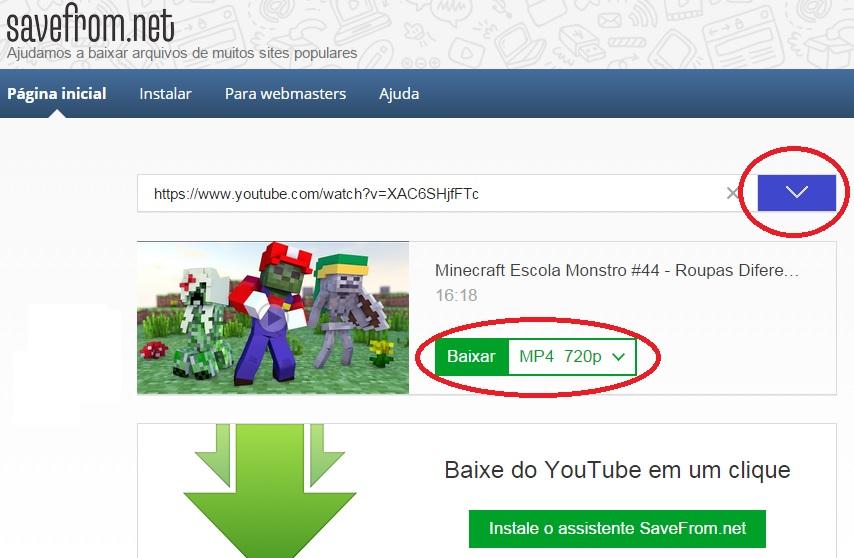 Resultado de imagem para como baixar vídeo pelo save.from youtube