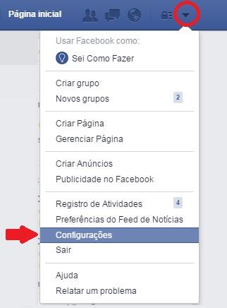 imagem do menu configurações do facebook