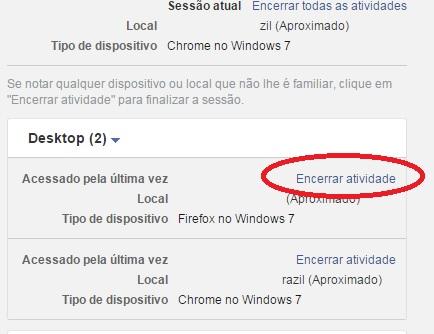 imagem do menu encerrar sessão do facebook