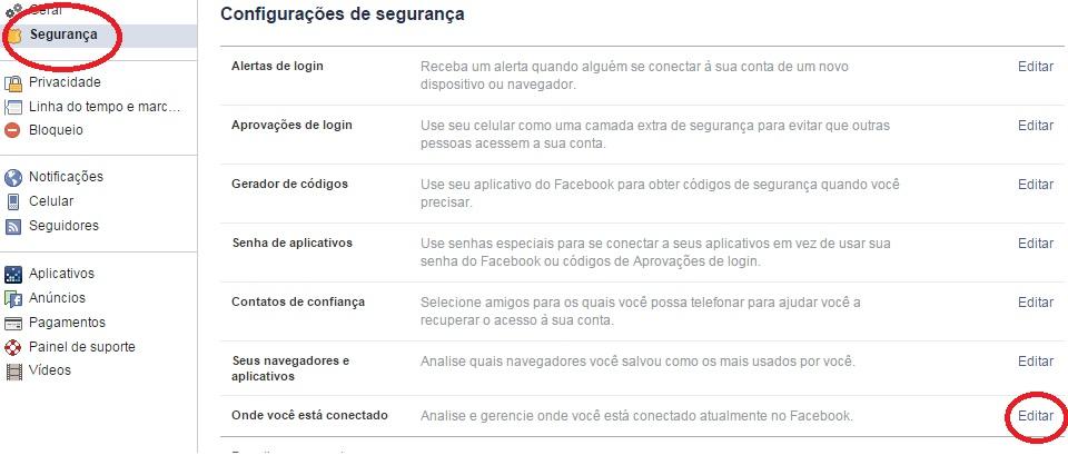 imagem do menu segurança do facebook