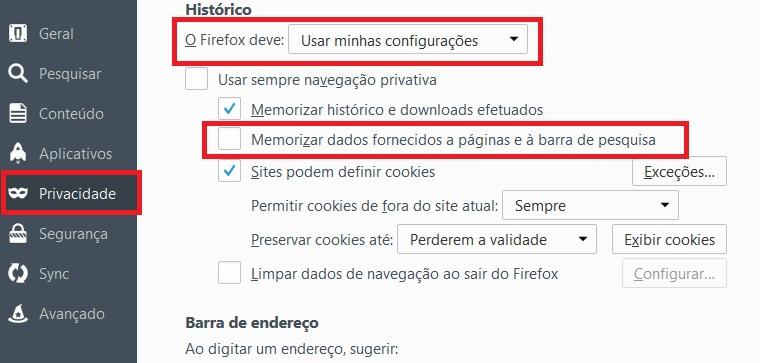imagem de como apagar dados de formulários no firefox