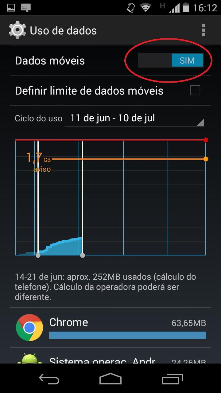 menu de habilitação dos dados móveis