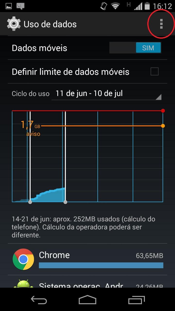 menu de opções dos dados móveis