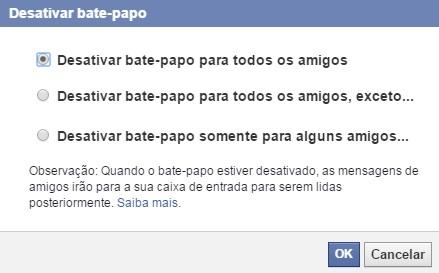 caixa de diálogo para desativar o bate papo do facebook