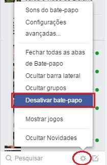 menu opções facebook desativar bate papo