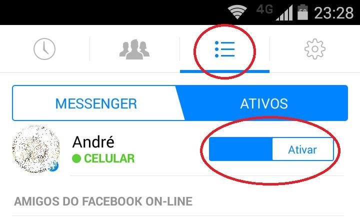 imagem desativação do messenger para exibir como offline