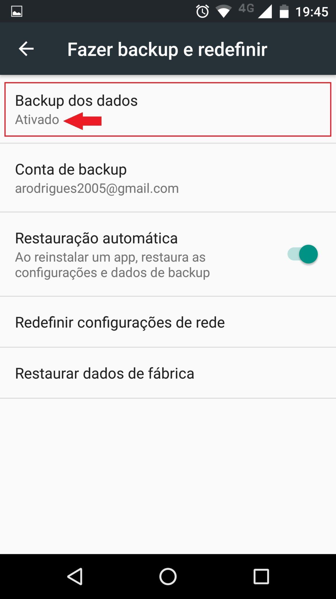 fazer backup android
