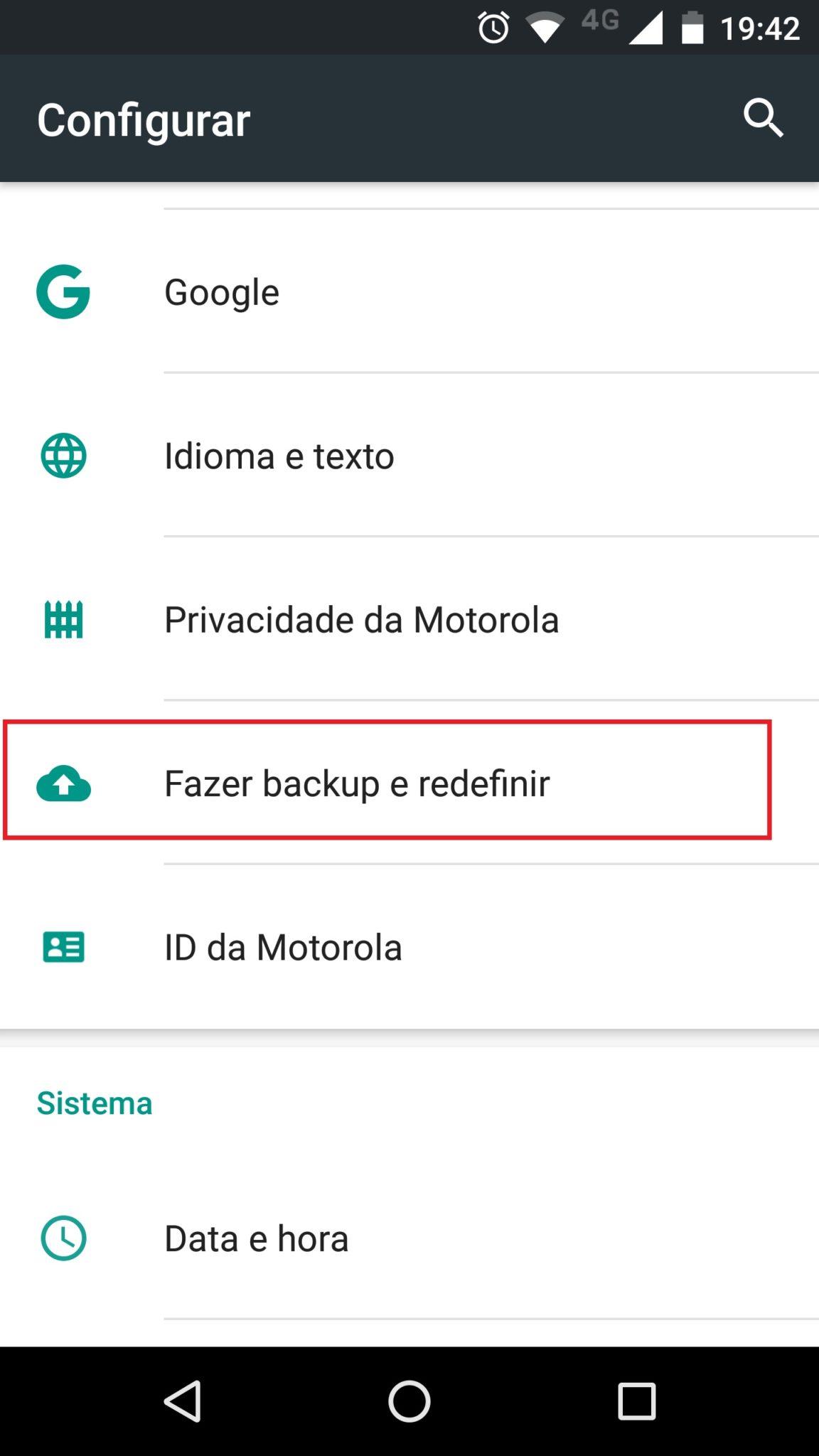 menu backup android
