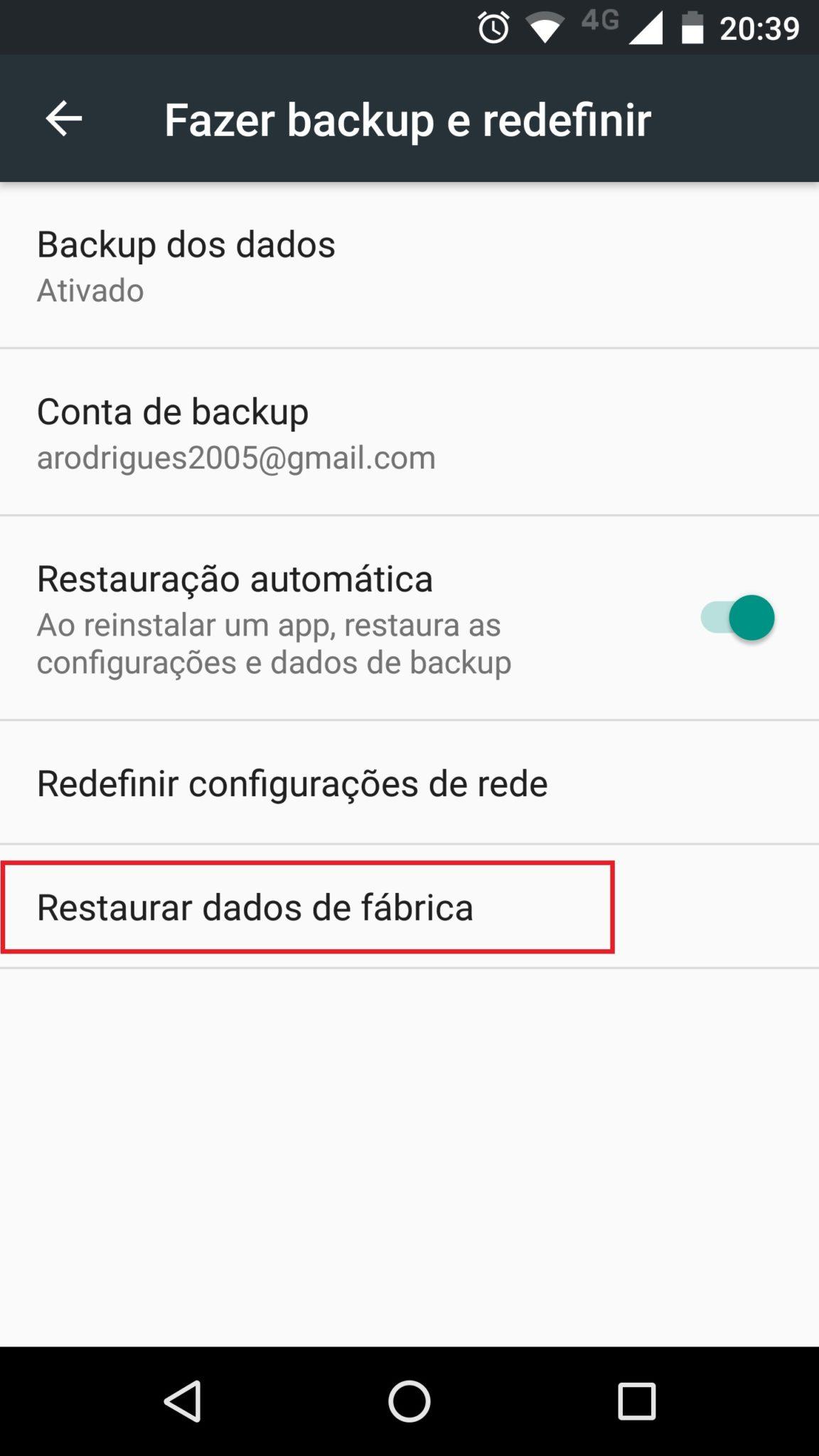 menu formatar android